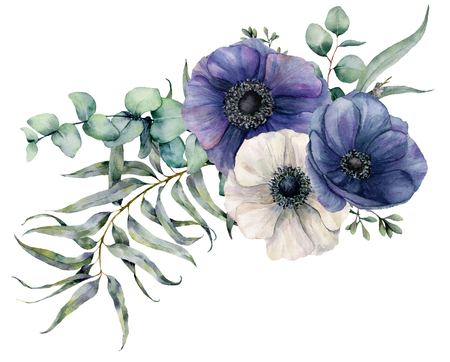 Watercolor elegant bouquet with anemone. Hand painted blue and white flowers, eucalyptus leaves and branch isolated on white background. Illustration for design, fabric, print or background