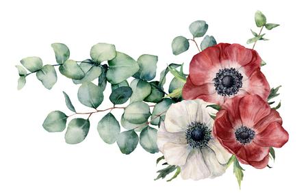 Asymmetrisches Aquarellbouquet mit Anemone und Eukalyptus. Handgemalte rote und weiße Blumen, Eukalyptusblätter und Zweig lokalisiert auf weißem Hintergrund. Illustration für Design, Druck oder Hintergrund.