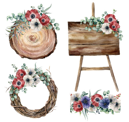 Watercolor wedding decor set. Hand painted eucalyptus leaves and branches, anemones, plants, tree wreath, wooden textured boards and seamless bouquet isolated on white background. Party floral set.