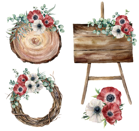 Watercolor party decor set. Hand painted eucalyptus leaves and brznches, anemones, plants, tree wreath, wooden textured boards isolated on white background. Wedding floral collection for design. Stock Photo
