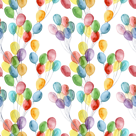 Watercolor bright air ballons seamless pattern. Hand painted illustration with colorful air balloons isolated on white background. For design, print, fabric or background.
