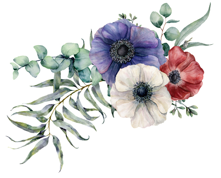 Watercolor anemone asymmetric bouquet. Hand painted red, blue and white flowers, eucalyptus leaves and branch isolated on white background. Illustration for design, fabric, print or background.