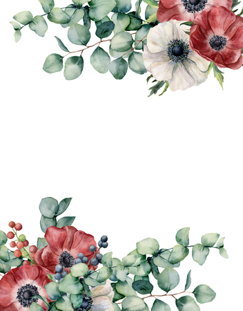 Watercolor eucalyptus and anemone floral card. Hand painted red and white flowers, eucalyptus leaves isolated on white background. Illustration for design, fabric, print or background. Banco de Imagens