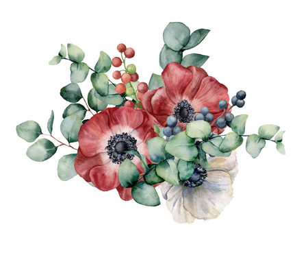 Watercolor bouquet with anemone, eucalyptus and berries. Hand painted red and white flowers, green leaves, berries, branch isolated on white background. Illustration for design, print or background.