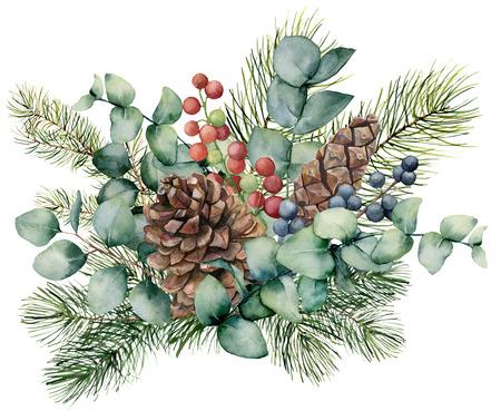 Bouquet d'aquarelle avec feuilles d'eucalyptus, cône, branche de sapin et baies. Brunch vert peint à la main, baies rouges et bleues isolés sur fond blanc. Illustration pour la conception, l'impression ou l'arrière-plan. Banque d'images