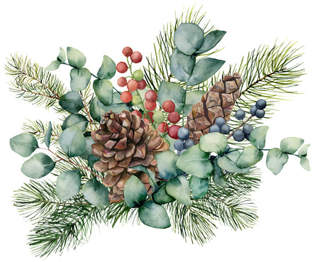 Watercolor bouquet with eucalyptus leaves, cone, fir branch and berries. Hand painted green brunch, red and blue berries isolated on white background. Illustration for design, print or background. Banco de Imagens