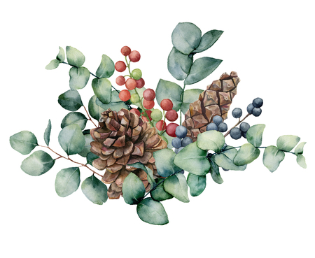 Watercolor bouquet with eucalyptus leaves, cone and berries. Hand painted green eucalyptus brunch, red and blue berries isolated on white background. Illustration for design, print or background.