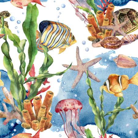 Watercolor laminaria branch, coral reef and sea animals seamless pattern. Hand painted jellyfish, starfish, tropical fish, air and shell on blue background. Nautical illustration for design on print. Stock Photo