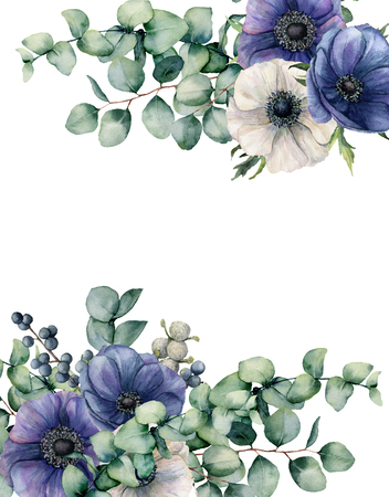 Watercolor anemone and eucalyptus floral card. Hand painted blue and white flowers, eucalyptus leaves isolated on white background. Illustration for design, fabric, print or background.