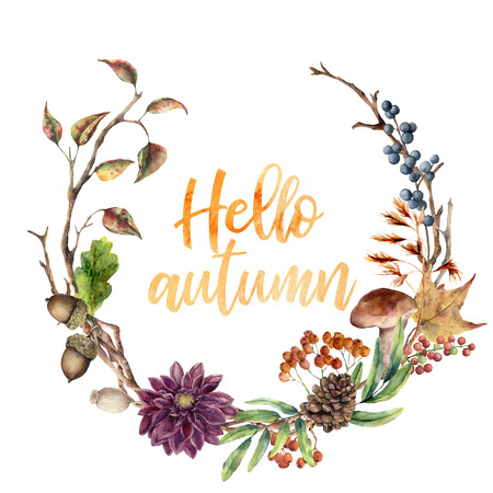 Watercolor Hello autumn wreath. Hand painted wreath with acorn, mushroom, cone, berries, tree branch, flower and leaves on white background. Illustration for design, fabric or background.