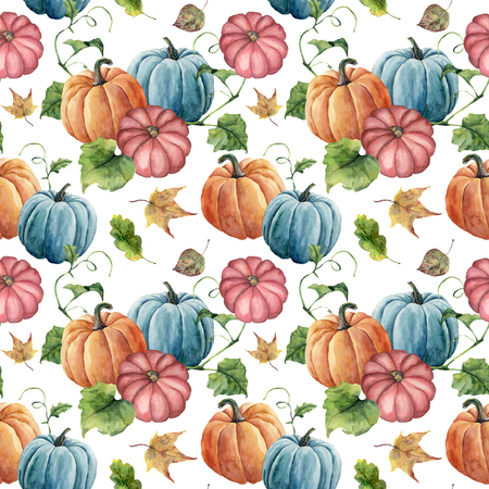 Watercolor bright pumpkin and leaves seamless pattern. Hand painted autumn pumpkin ornament with branch isolated on white background. Botanical illustration for design and fabric, halloween. Banco de Imagens