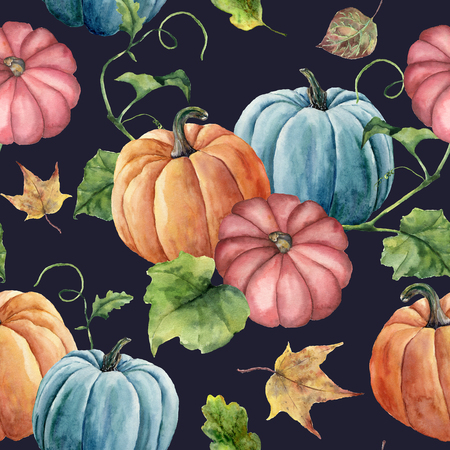 Watercolor leaves and bright pumpkin seamless pattern. Hand painted autumn pumpkin ornament with branch isolated on dark blue background. Botanical illustration for design and fabric, halloween