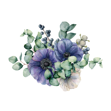 Watercolor bouquet with anemone and eucalyptus. Hand painted blue and white flowers, green leaves, berries, branch isolated on white background. Illustration for design, print or background.