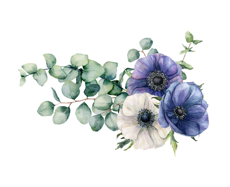Watercolor asymmetric bouquet with eucalyptus and anemone. Hand painted blue and white flowers, eucalyptus leaves and branch isolated on white background. Illustration for design, print or background.