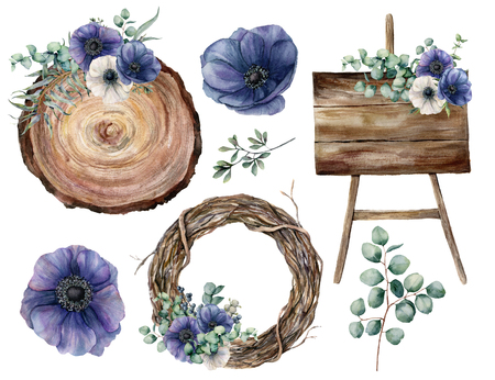 Watercolor wedding decor set with blue anemones. Hand painted eucalyptus leaves and branches, plants, tree wreath, wooden textured boards and bouquet isolated on white background. Party floral set. Stock Photo