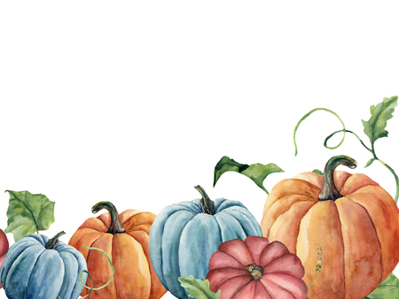 Watercolor bright pumpkin and leaves card. Hand painted autumn pumpkin ornament with branch isolated on white background. Botanical illustration for design and fabric, halloween. Stock Photo