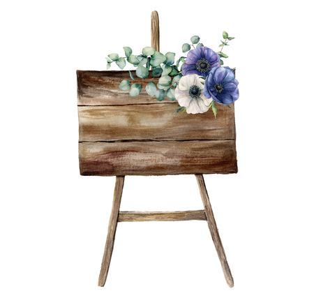 Watercolor decor card with blue anemones. Hand painted eucalyptus leaves, branches, plants and bouquet isolated on white background. Floral illustration for design, fabric or background.