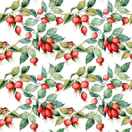 Watercolor big seamless pattern with branch of Dog rose, red berries and green leaves. Hand painted briar and hips isolated on blue background. Illustration for design, fabric, print or background.