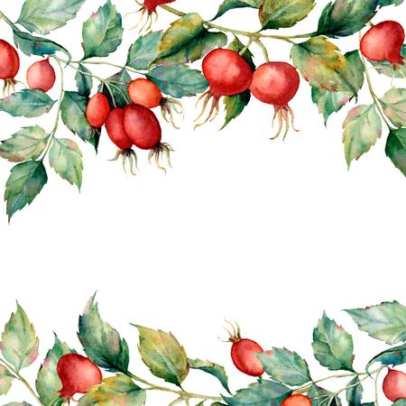 Aquarellkarte mit Zweig der Hunderose, der grünen Blätter und der roten Beeren. Handgemalter Dornbusch und Hüften lokalisiert auf weißem Hintergrund. Illustration für Design, Stoff, Druck oder Hintergrund. Standard-Bild