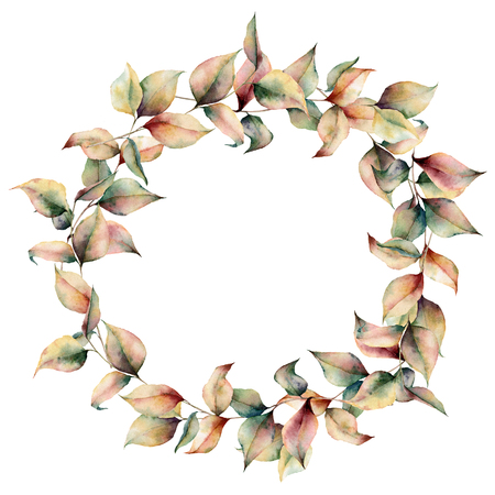 Watercolor autumn wreath. Hand painted leaves and branch isolated on white background. Botanical illustration for design, background, card and fabric. Fall print. Stock fotó