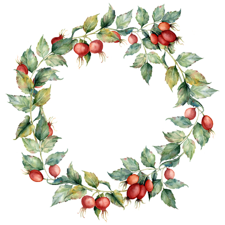 Corona dell'acquerello con ramo di rosa canina, bacche rosse e foglie verdi. Radica dipinta a mano e fianchi isolati su sfondo blu. Illustrazione per design, tessuto, stampa o sfondo.