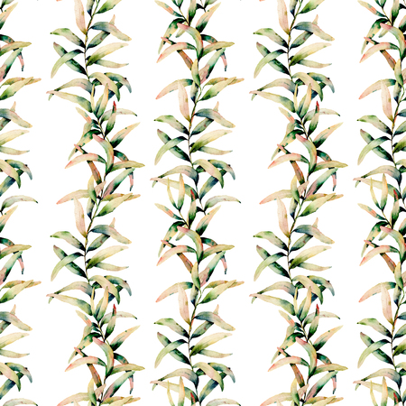 Watercolor autumn grass seamless pattern. Hand painted green and yellow branch of grass isolated on white background. Botanical illustration for design, background and fabric. Fall print.