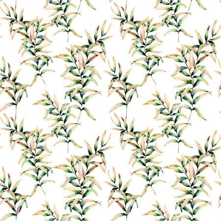 Watercolor autumn grass branch seamless pattern. Hand painted green and yellow branch of grass isolated on white background. Botanical illustration for design, background and fabric. Fall print.