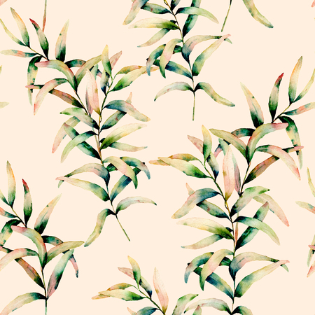 Watercolor autumn grass pastel seamless pattern. Hand painted green and yellow branch of grass isolated on pastel pink background. Botanical illustration for design, background and fabric. Fall print.
