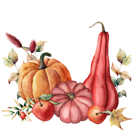 Watercolor card with autumn harvest. Hand painted pumpkins, apples, dogroses with leaves and branches isolated on white background. Botanical illustration for design, print or background.
