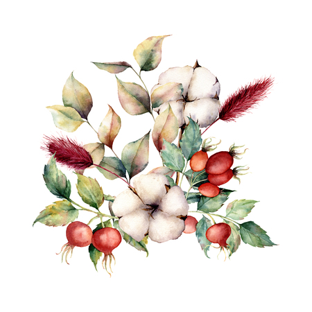 Watercolor autumn bouquet with flowers and plants. Hand painted dogroses, cotton flowers, lagurus, leaves and branches isolated on white background. Floral illustration for fall design, print