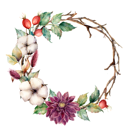 Watercolor wreath with autumn plants and flowers. Hand painted tree border with cotton, dahlia, dogrose berries and leaves, lagurus isolated on white background. Natural floral illustration.