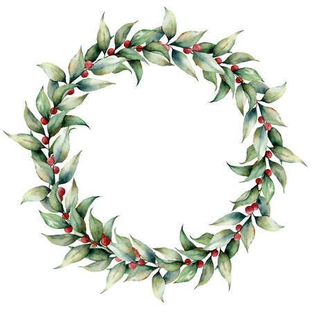 Watercolor wreath with cowberry. Hand painted floral illustration with leaves, berries and branches isolated on white background. Botanical element for design, fabric, print or background. Stock Photo