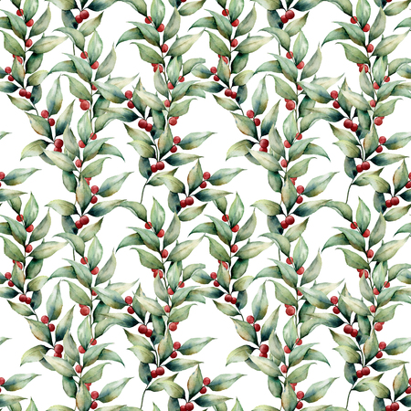 Watercolor seamles big pattern with cowberry. Hand painted floral illustration with leaves, berries and branches isolated on white background. Botanical element for design, fabric or background.