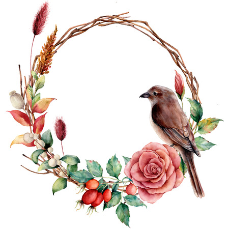 Watercolor wreath with bird and flowers. Hand painted tree border with cotton, dahlia, dogrose berries and leaves, lagurus isolated on white background. Illustration for design, fabric or background. Stock Photo