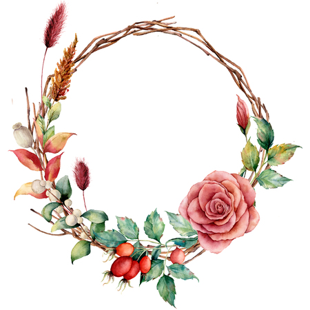 Watercolor wreath with dogrose and flower. Hand painted tree border with dahlia, tree branch and leaves, lagurus isolated on white background. Illustration for design, fabric or background.