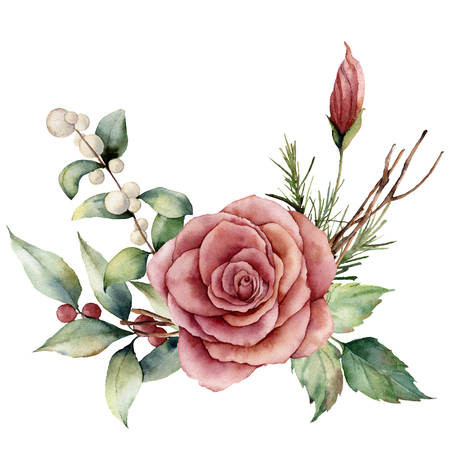 Watercolor bouquet with rose and snowberries. Hand painted floral illustration with pink flower, leaves, lagurus grass and branches isolated on white background. For design, print or background.