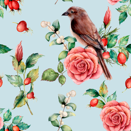 Watercolor seamless patttern with bird and rose. Hand painted floral illustration with snowberries, dogrose, leaves and branches isolated on blue background. For design, print or background.