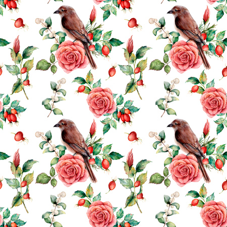 Watercolor big seamless patttern with bird and rose. Hand painted floral illustration with snowberries, dogrose, leaves and branches isolated on white background. For design, print or background.