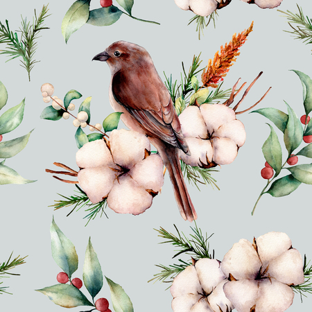 Watercolor seamless patttern with bird and cotton. Hand painted floral illustration with white flower, snowberries, leaves and branches isolated on blue background. For design, print or background. Stock Photo