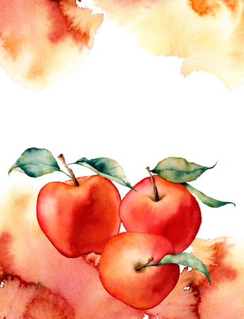 Watercolor card with splash and apple on white background.The color splashing in the paper.It is a hand drawn. Illustration for design, print or background.