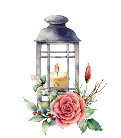 Watercolor lantern with candle and holiday decor. Hand painted traditional lantern with rose and plant isolated on white background. For design or print.