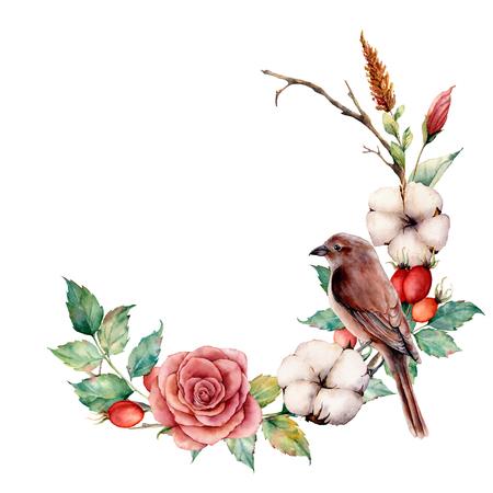 Aquarellkranz mit Vogel und Baumwolle. Handgemalte Baumgrenze mit Rose, Dogrose Beeren und Blättern lokalisiert auf weißem Hintergrund. Illustration für Design, Stoff oder Hintergrund.