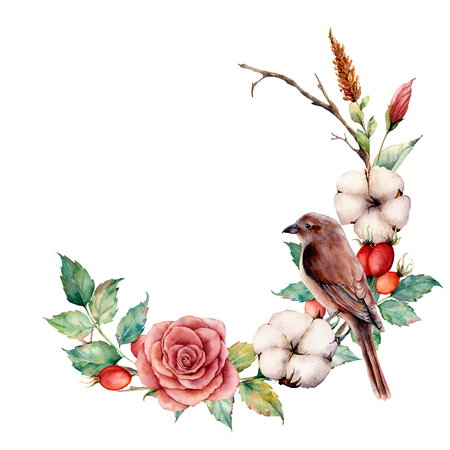 Watercolor wreath with bird and cotton. Hand painted tree border with rose, dogrose berries and leaves isolated on white background. Illustration for design, fabric or background.
