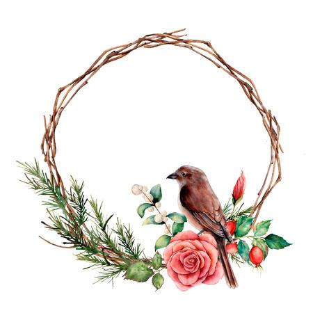Aquarellkranz mit Vogel und Rose. Handgemalte Baumgrenze mit Baumwolle, Dogrose-Beeren und Blättern lokalisiert auf weißem Hintergrund. Illustration für Design, Stoff oder Hintergrund.