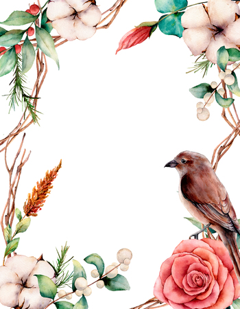 Watercolor vertical card with bird and flowers.