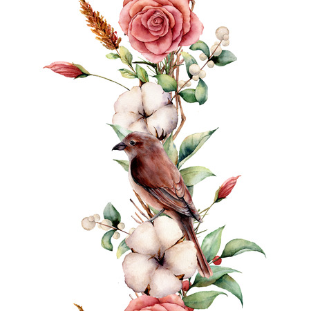Watercolor vertical border with bird and flowers. Hand painted tree border, cotton, branch, dahlia, berries and leaves, lagurus isolated on white background. Illustration for design or background.