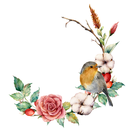 Watercolor wreath with robin and cotton. Hand painted tree border with rose, dogrose berries and leaves isolated on white background. Illustration for design, fabric or background.
