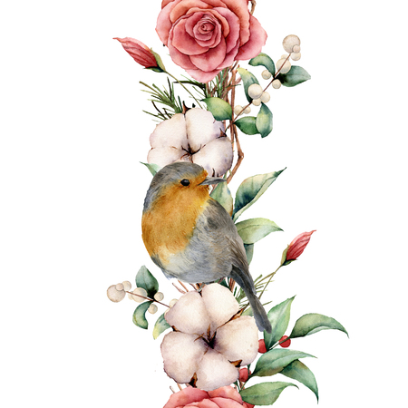 Watercolor vertical border with robin and flowers. Hand painted tree border, cotton, branch, dahlia, berries and leaves, lagurus isolated on white background. Illustration for design or background. 免版税图像