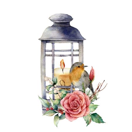 Linterna de acuarela con vela y petirrojo. Decoración navideña tradicional pintada a mano, linterna con rosa y planta aislada sobre fondo blanco. Para diseño o impresión.