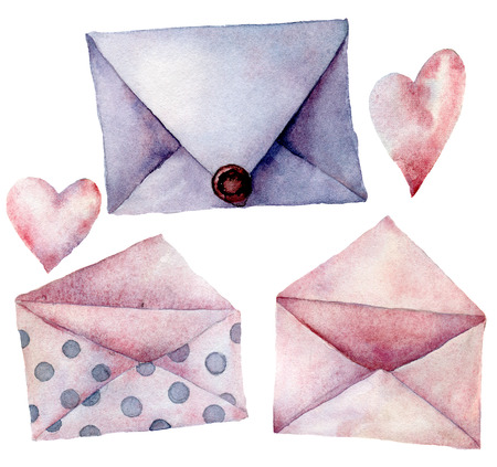 Watercolor envelope set. Hand painted pink, violet and polka dot envelopes isolated on white background. Vintage mail icon. Design elements for print, background.